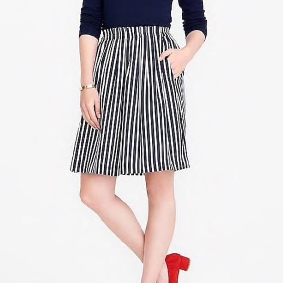 J. Crew Dresses & Skirts - J.Crew navy and white pleated midi skirt